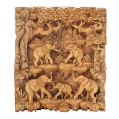 Wood relief panel, 'Sweet Memory' - Elephant Themed Handmade Wood Wall Relief Panel