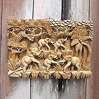 Wood relief panel, 'Jungle Frolic' - Fair Trade Handcrafted Elephant Wall Relief Panel
