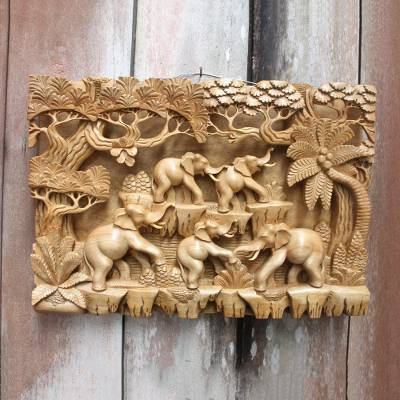 Wood relief panel, Jungle Frolic