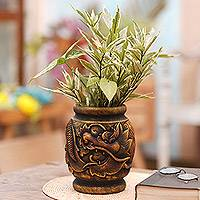 Mahogany decorative vase, 'Fierce Anantaboga' - Antiqued Artisan Crafted Mahogany Wood Dragon Vase