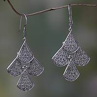 Sterling silver chandelier earrings, 'Bali Dewdrops' - Handcrafted Sterling Silver Filigree Chandelier Earrings