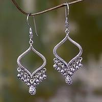 Sterling silver chandelier earrings, 'Ancient Chimes' - Silver Hand Crafted Bali Earrings