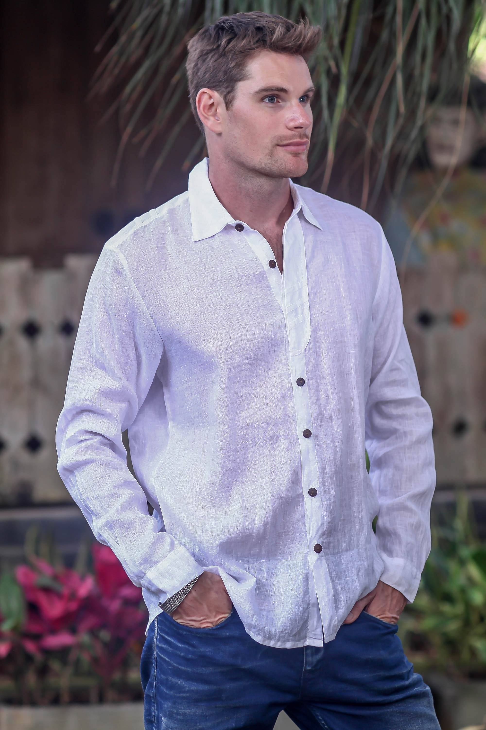 Lightweight Sheer White Cotton Long-Sleeved Shirt for Men - Pure ... 77fea4690c2