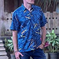 Men's cotton batik shirt, 'Indigo Birds'