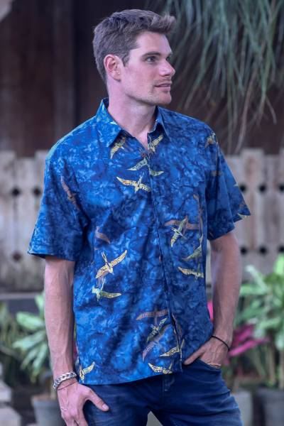 Men's cotton batik shirt, 'Indigo Birds' - Fair Trade Mens 100% Cotton Hand Crafted Short Sleeve Casual