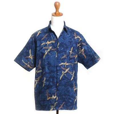 Men's cotton batik shirt, 'Indigo Birds' - Blue Handmade Men's Woven Cotton Batik Shirt from Bali