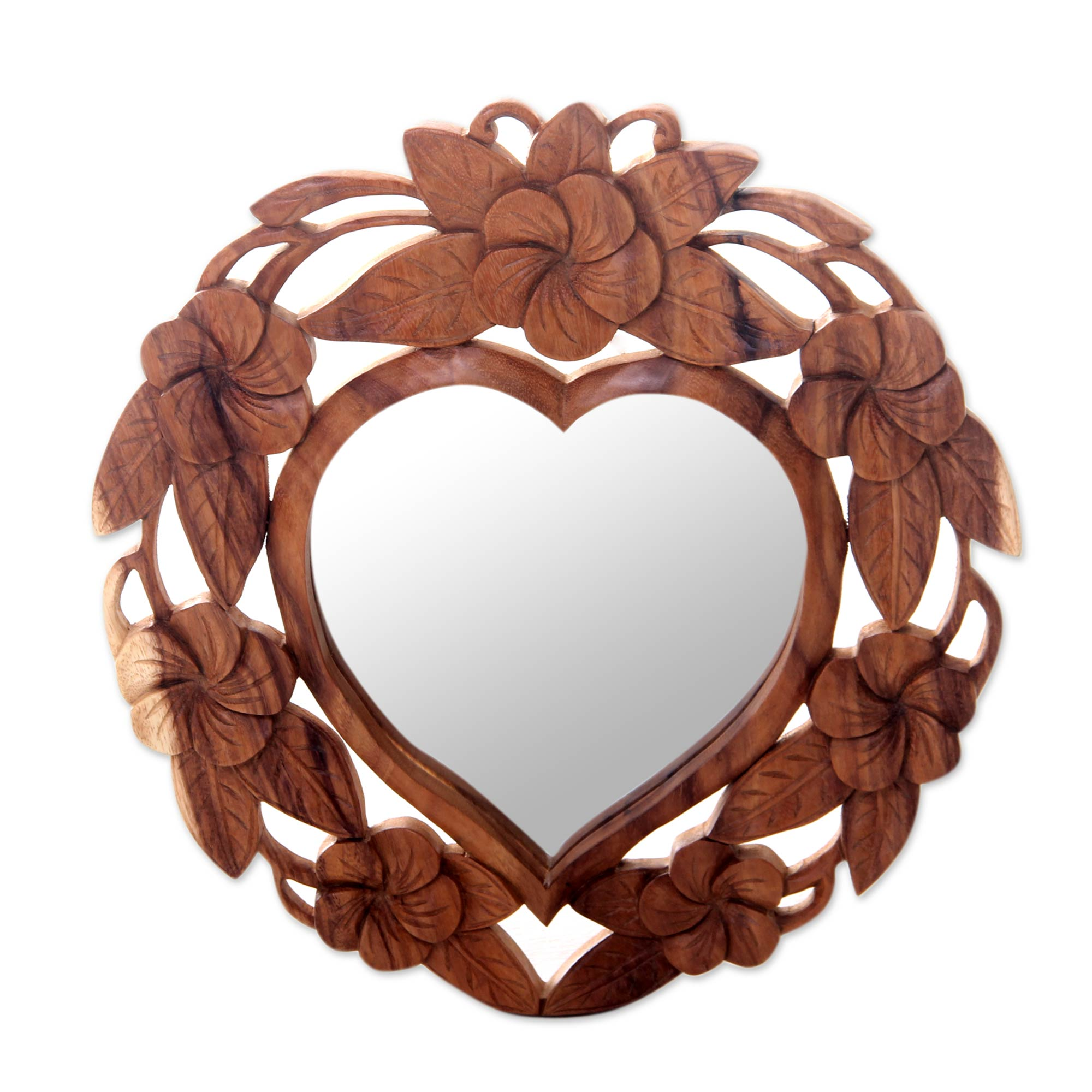 Heart Shaped Wood Wall Mirror With Floral Motif Frangipani Heart Novica