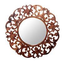 Wood wall mirror, 'Balsamina Buds' - Hand Carved Round Wooden Mirror