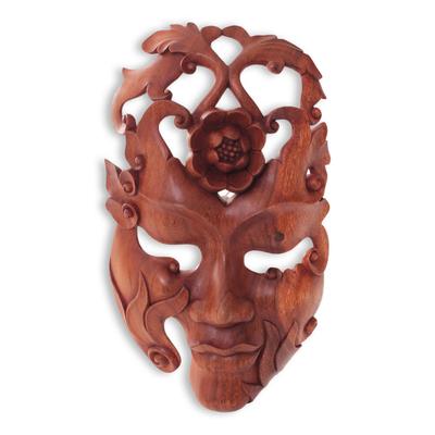 Wood mask, 'Lotus Woman' - Surreal Wood Wall Mask of Woman with Lotus Flowers