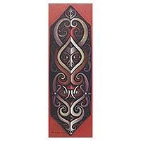 'Dayak Shield I' - Signed Original Indonesian Tribal Shield Painting