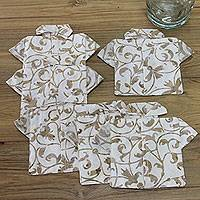 Cotton coasters, 'Bali Arabesque' (set of 6) - Handcrafted Beige and Tan Cotton Shirt Coasters (set of 6)