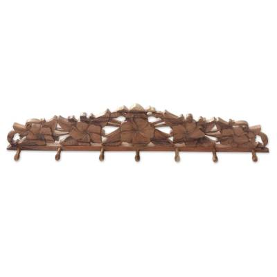 Hand Carved Wood Coat Rack with Hibiscus Flower Motif
