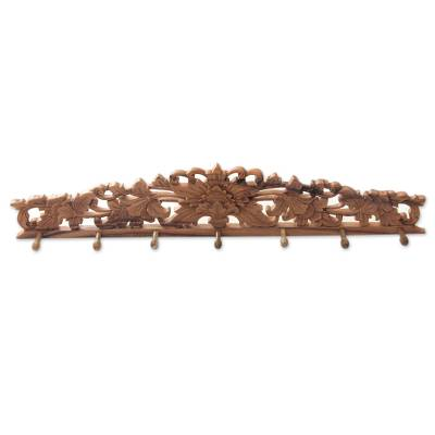 Wood coat rack, 'Kenanga Blossoms' - Indonesian Floral Motif Carved Wooden Coat Rack