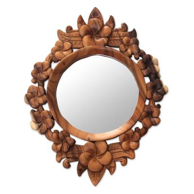 Wood framed wall mirror, 'Gianyar Moon' - Hand Carved Wood Round Floral Wall Mirror from Bali