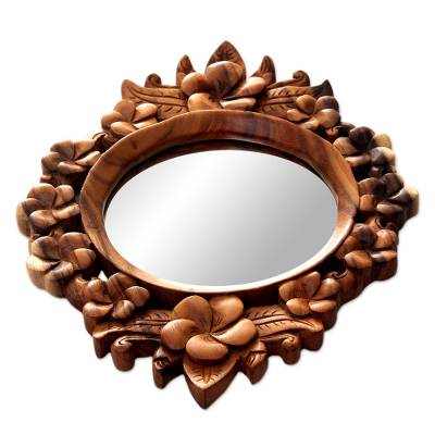 Hand Carved Wood Round Fl Wall, Carved Wooden Round Mirror