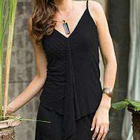 Modal top, 'Black Jasmine' - Black Sleeveless V-Neck Top in Cool Modal