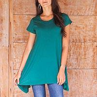 Modal tunic, 'Calla in Green' - Womens Fair Trade Scoop Neck Short Sleeve Tunic in Wrinkle F
