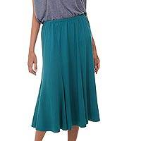 Modal skirt, 'Green Orchid' - Flared Pull On Skirt in Green Modal from Indonesia