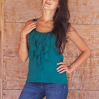 Modal top, 'Paradise Green' - Women's Modal Sleeveless Top with Ruffles