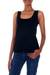 Modal top, 'Lotus Black' - Wrinkle Free Black Modal Tank Top for Women (image 2a) thumbail
