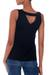 Modal top, 'Lotus Black' - Wrinkle Free Black Modal Tank Top for Women (image 2b) thumbail