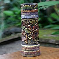 Decorative wood vase, 'Baru Klinting Dragon' - Fair Trade Handmade Wood Dragon-Themed Vase