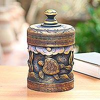 Decorative wood box, 'Turtle Paradise' - Handmade Mahogany Turtle Motif Lidded Box from Bali
