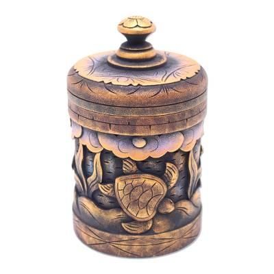 Decorative wood box, 'Turtle Paradise' - Handmade Mahogany Turtle Motif Lidded Box from Bali