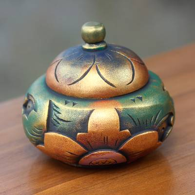 Decorative wood box, 'Denpasar Treasure' - Decorative Round Carved Wood Trinket Box from Bali