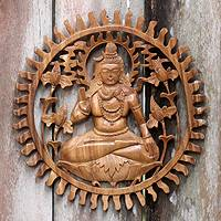 Wood relief panel, 'Mahadewa' - Hand Carved Hindu God Suar Wood Relief Panel