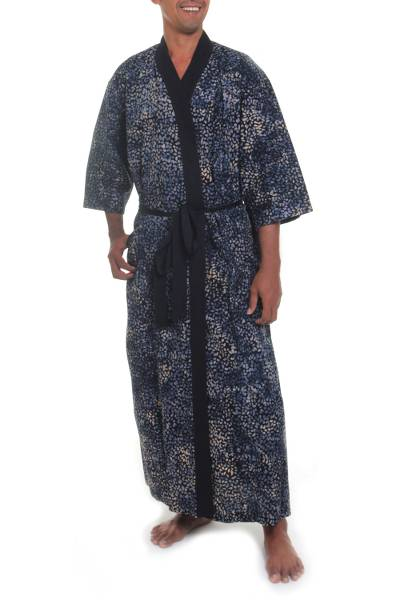 Men s Patterned Cotton Robe in Slate Blue and Black - Twilight Blues ... 09926d694