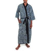 Men's cotton robe, 'Misty Gray Blocks' - All-Cotton Gray Patterned Men's Robe from Balinese Artisan