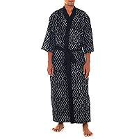 Men's cotton robe, 'Black Steel' - Black and White Print Men's Cotton Robe with Self Belt