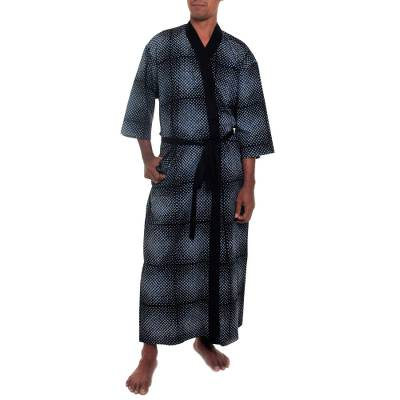 Men's cotton robe, 'Night Sea' - Hand Crafted grey and Black Cotton Print Robe for Men