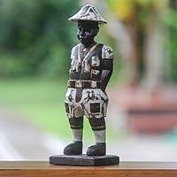 Wood sculpture, 'Sinyo' - Distressed Hand Carved Wood Statuette of Dutch Boy