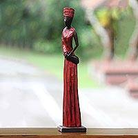 Wood sculpture, 'Lady Merchant' - Indonesian Merchant Woman Wood Sculpture from Bali Artisan