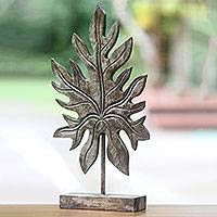 Gilt on wood sculpture, 'Silver Papaya Leaf' - Silver Gilt on Wood Vintage Style Leaf Sculpture from Bali