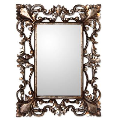 Vintage style mirror and wood frame with silver gilt for Old style mirror