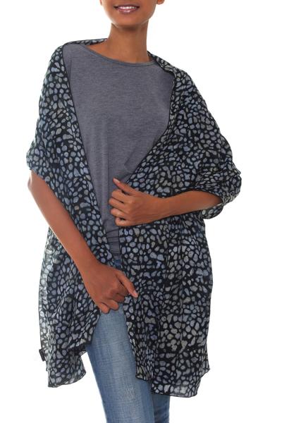 Rayon shawl, 'Borneo Slate' - Black and Gray Woven Rayon Shawl from Bali Artisan
