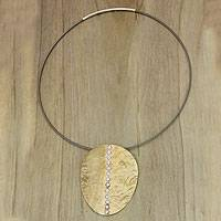 Mixed metal pendant necklace, 'Sunset On Sea'