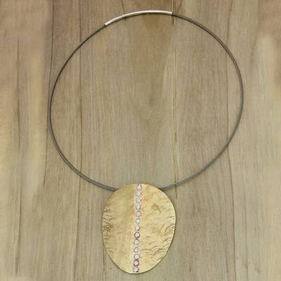 Mixed metal pendant necklace, 'Sunset On Sea' - Artisan Crafted Modern Mixed Metal Pendant Necklace