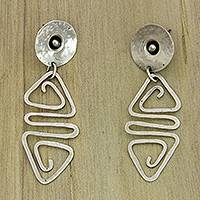 Sterling silver dangle earrings, 'Sumatra Glyph' - Contemporary Sterling Silver Dangle Earrings from Bali