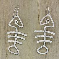 Sterling silver dangle earrings, 'Bone Fish Bone' - Hand Hammered Sterling Silver Fish Bone Earrings