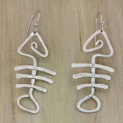 Sterling Silver Dangle Earrings Bone Fish Hand Hammered