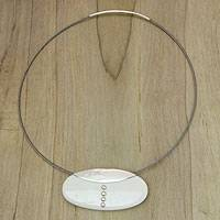 Bone and sterling silver pendant necklace, 'Clutch' - Modern Bone and Silver Necklace on Stainless Steel Cord
