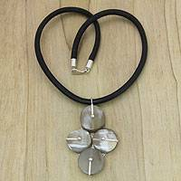 Horn pendant necklace, 'Four-Leaf Clover' - Fair Trade Water Buffalo Horn Necklace in Clover Shape