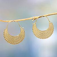 Gold plated hoop earrings, 'Golden Crescent' - Artisan Crafted 22k Gold Plated Hoop Style Earrings