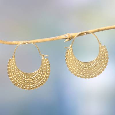 Gold plated hoop earrings, 'Golden Crescent' - Artisan Crafted 22k Gold Vermeil Hoop Style Earrings