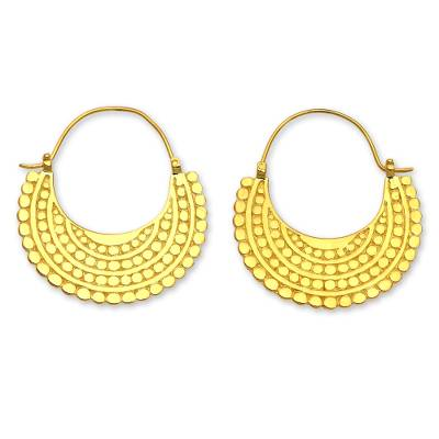 Gold plated hoop earrings, 'Golden Crescent' - Artisan Crafted 22k Gold Plated Hoop Style Earrings