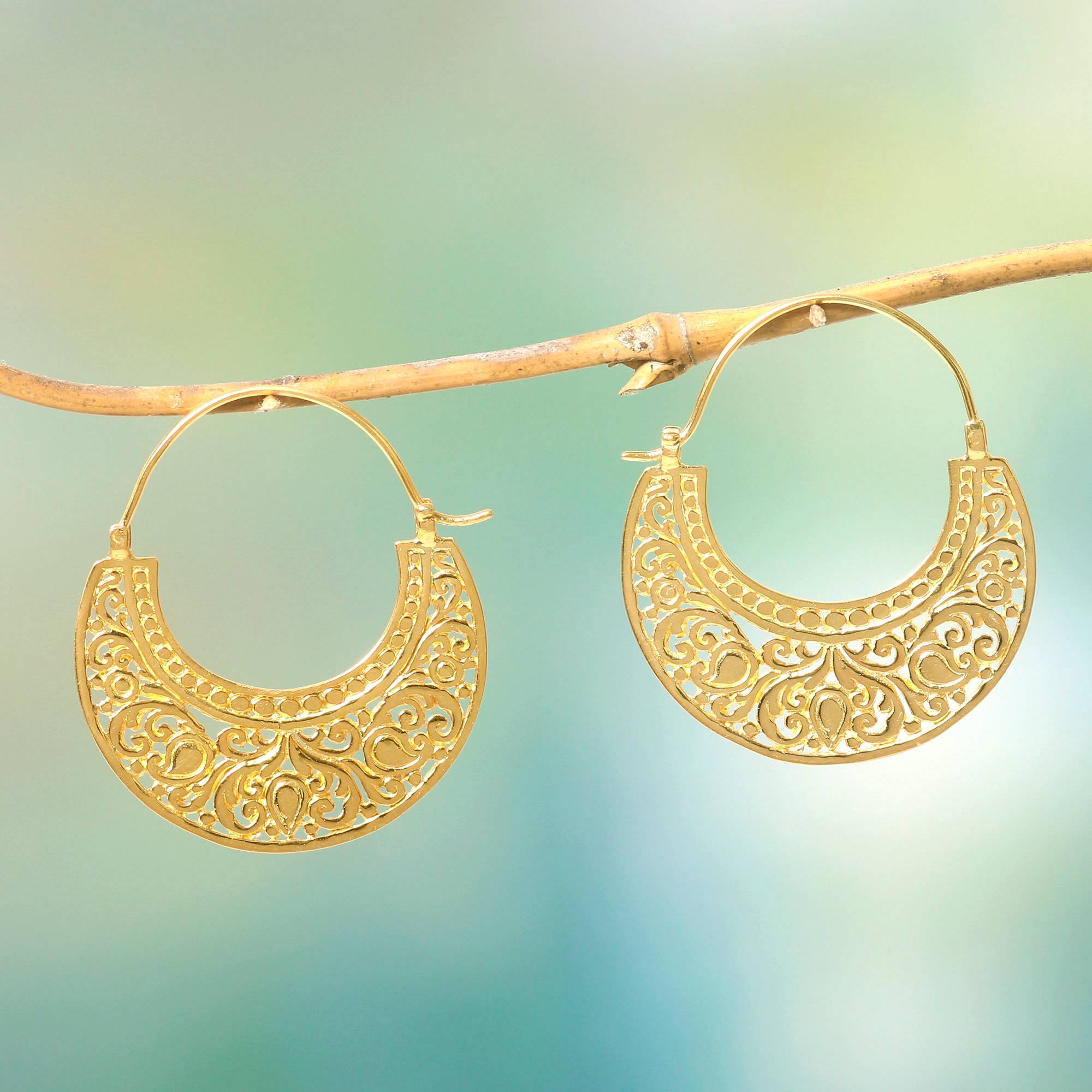 Ornate 22k Gold Vermeil Hoop Earrings, Garden of Eden Jewelry Trends